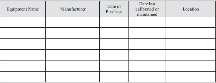 labouratory eqipment chart